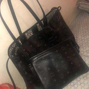 Mcm black tote medium with clutch